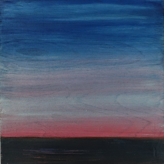 Before Sunrise, 12x12, mixed media on board with resin