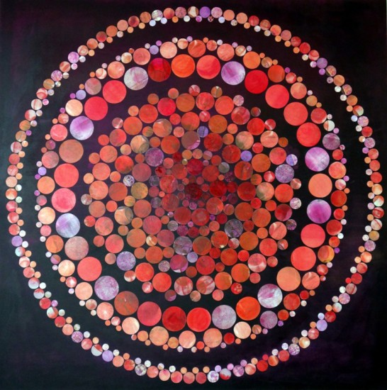 Cyclus Solaris, 48x48,  Collage on Board with Resin