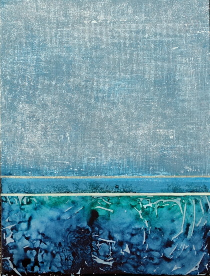 Blue Lines 1, 24x18, Mixed Media on Board with Resin