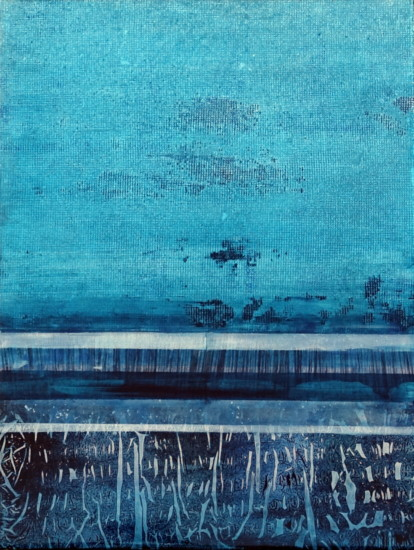Blue Lines 2, 24x18, Mixed Media on Board with Resin