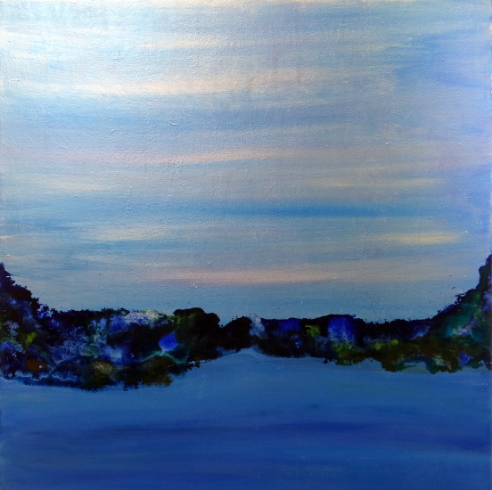 Blue Mood , 30x30, mixed media on board with resin