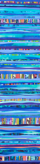 Blue Rainbow vertical, 48x12, Mixed Media Collage on Board with Resin