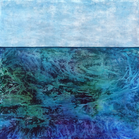 Currents, 40x40, Mixed Media with Matte Resin Finish