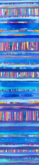 Indigo rainbow vertical, 48x12,  Mixed Media Collage on Board with Resin