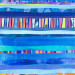 Indigo rainbow vertical, 48x12,  Mixed Media Collage on Board with Resin thumbnail