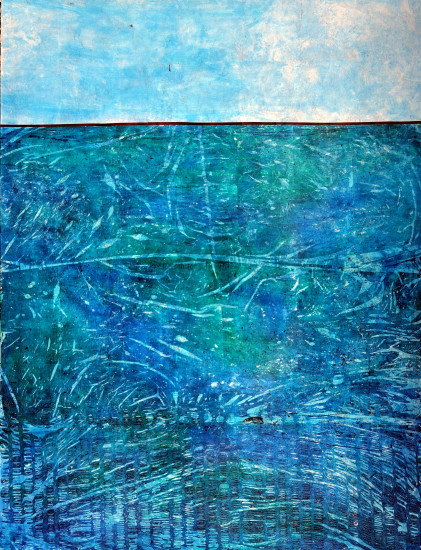 Into the BlueI,, 48x36, mixed media on board with resin (sold)