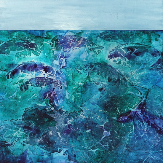 Life Aquatic, 36x36, (Indigo Series)