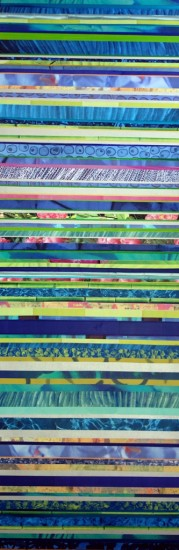 Long Rainbow, 47x16, Mixed Media Collage on Board with Resin