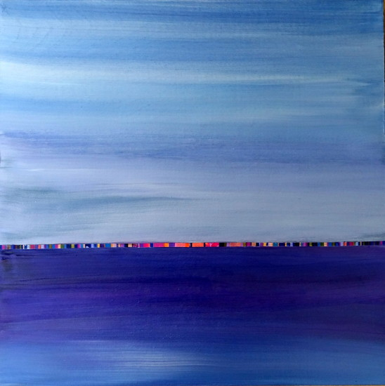 Sunset Skyline, 16x16, Mixed Media on Board with Resin (sold)