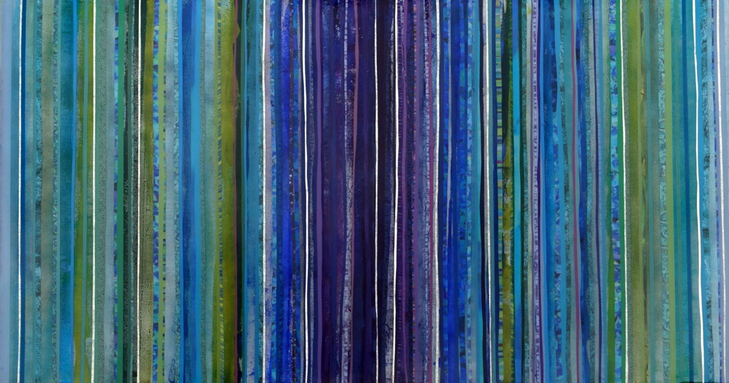 Spectral Lines II, 55x30, Mixed Media on Board with Resin, horizontal view