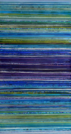 Spectral Lines II, 55x30, Mixed Media on Board with resin, vertical view