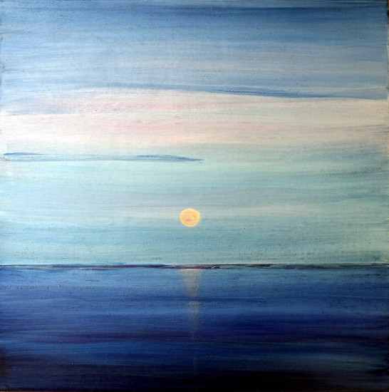 Sunset Blues,16x16, Mixed Media on Board with Resin