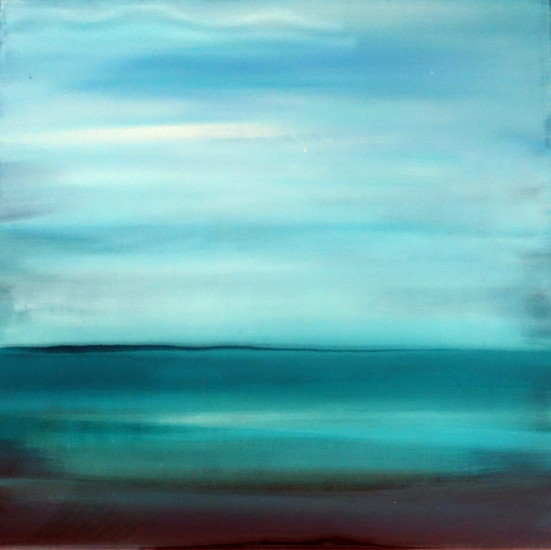 Turquoise Mood, 18x18,  mixed media on board with resin