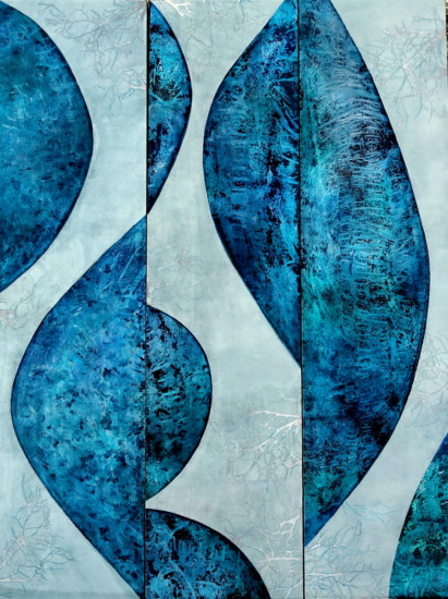 Waves, Triptych, 3x16x64, Mixed Media on Board with Resin