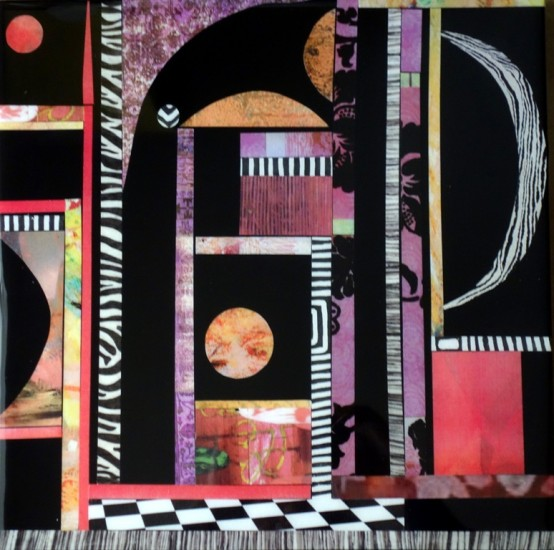 New: Zebra Moon, 14x14,  Collage on Board with Resin