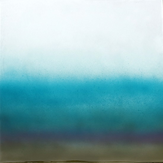 new: Distant Rain, 16x16, pigment on aluminum with resin