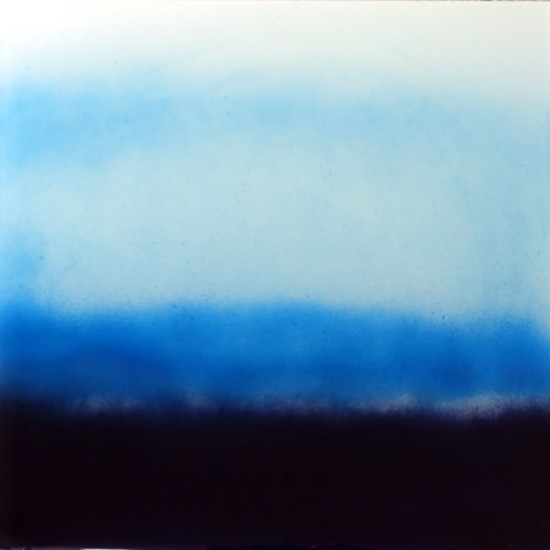 new: Indigo Skies, 16x16, pigment on aluminum with resin