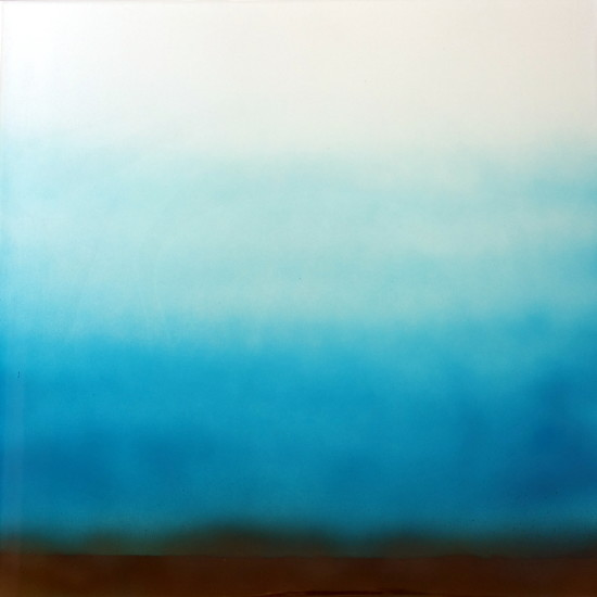 new: Misty Blue, 16x16, pigment on aluminum with resin
